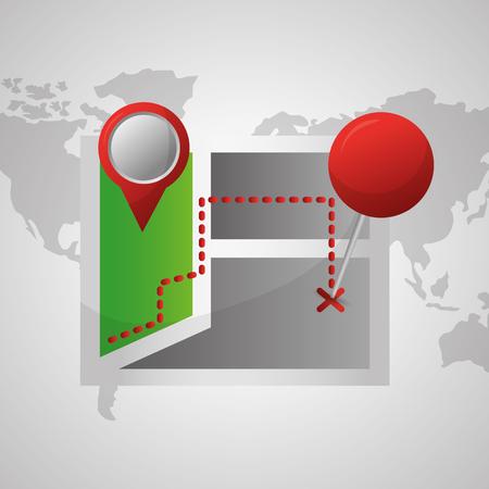 gps navigation application signaling arrival destination vector illustration