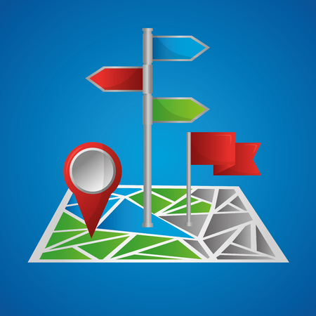 gps navigation application map with signaling ubication blue background vector illustration