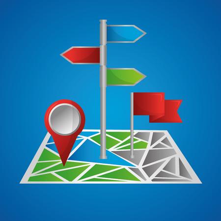 gps navigation application map with signaling ubication blue background vector illustration Imagens - 101041152