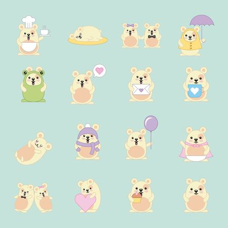 kawaii mouses many activity animal cartoon vector illustration Stock Vector - 101041156