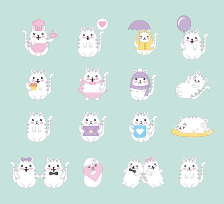 kawaii cats animal cartoon collection vector illustration