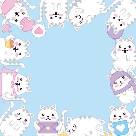 kawaii kitten adorable animal cartoon border decoration vector illustration