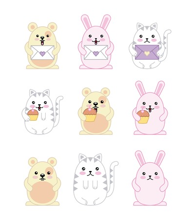kawaii animals mouse kitty cat and rabbit cartoon vector illustration  イラスト・ベクター素材