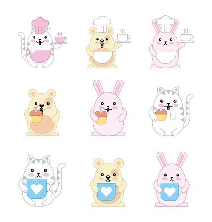 animals mouse kitty cat and rabbit cartoon vector illustration