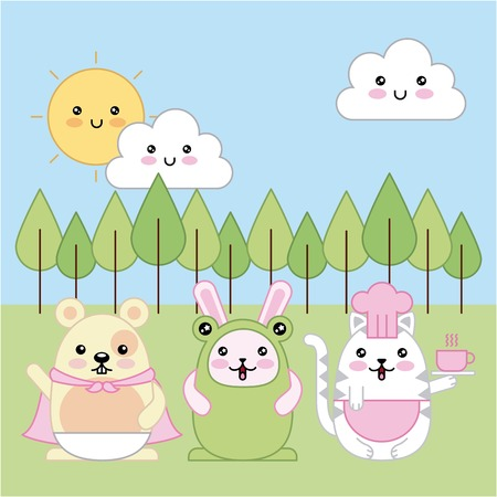 cat rabbit mouse animals wear costumes cartoon vector illustration Illustration