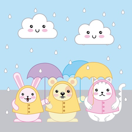 rabbit cat and mouse with umbrellas and raincoats cartoon vector illustration
