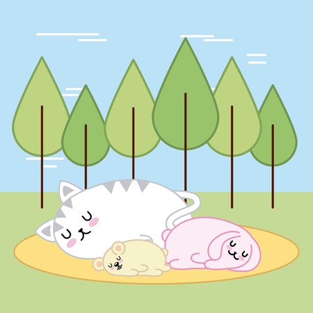 cute animals sleeping in forest cartoon vector illustration Ilustrace