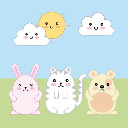 cute rabbit cat and mouse cartoon vector illustration