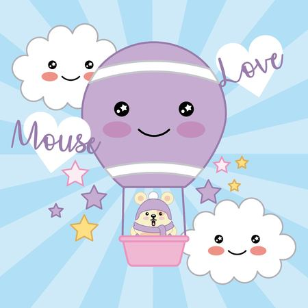 kawaii mouse love air balloon clouds stars decoration vector illustration Illustration