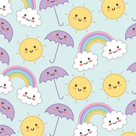 kawaii umbrella rainbow cloud sun decorative background vector illustration