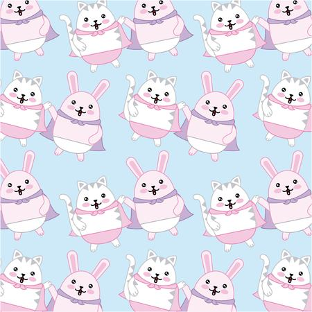 kawaii cat and rabbit with cape characters background vector illustration