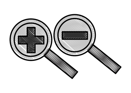 increase decrease magnifiers glass analysis vector illustration Ilustracja