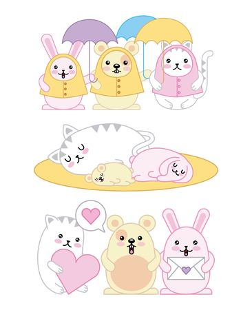 kawaii animals mouse kitty cat and rabbit cartoon vector illustration  イラスト・ベクター素材