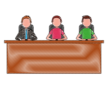 three men sitting in desk team work vector illustration Banco de Imagens - 100994427