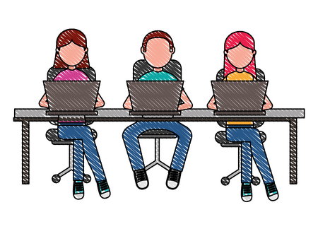 people group sitting working laptop vector illustration