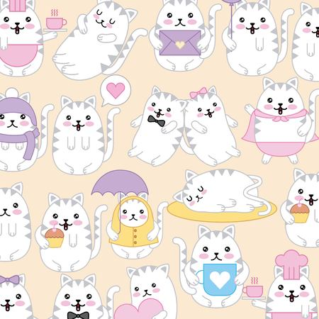 cats different character cartoon pattern vector illustration