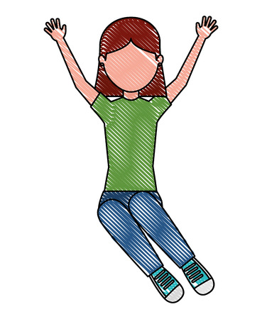 happy young girl raised arms vector illustration Standard-Bild - 100994457