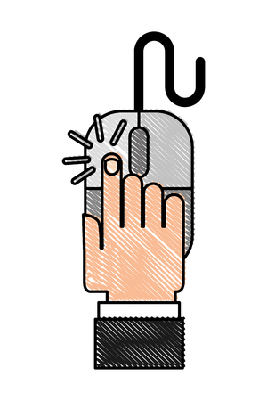 hand clicking with mouse device vector illustration