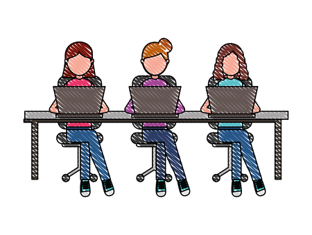 women group sitting working laptop on table and chairs vector illustration Banco de Imagens - 100994516