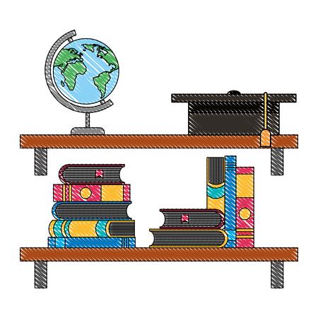 bookshelf school globe books graduate hat vector illustration