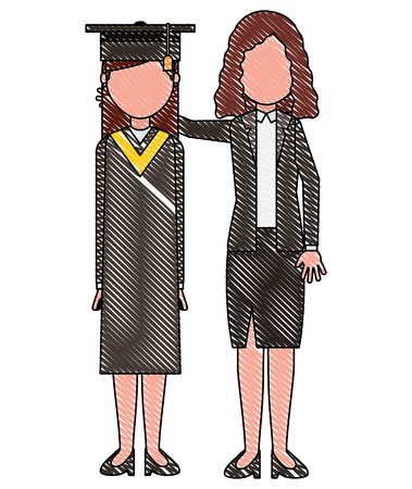 graduate girl with woman standing in formal clothes vector illustration