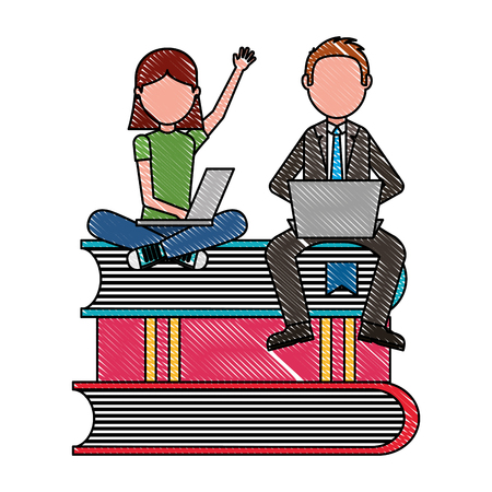 man teacher and girl reading a laptop sitting on a stack of textbooks vector illustration