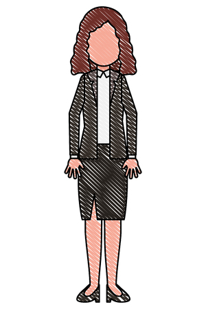 woman standing in formal clothes character vector illustration