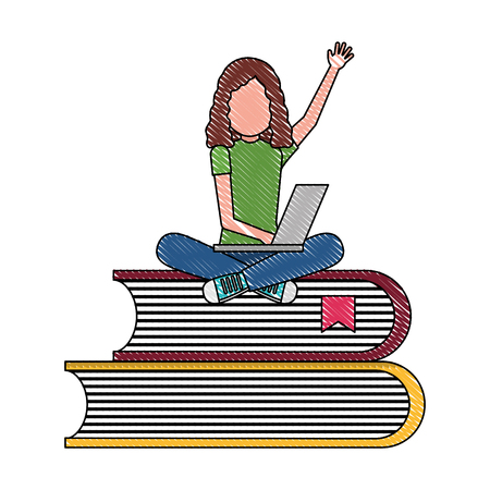 student young girl with laptop sitting in pile of books vector illustration