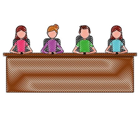 group man and woman sitting in desk team work vector illustration Ilustração