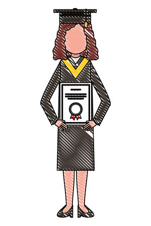 young girl on graduation day with diploma success vector illustration