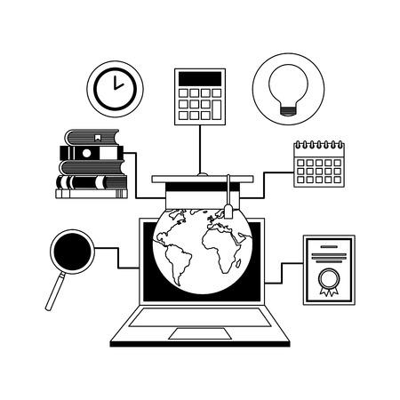 globe diploma calendar idea books on a laptop of e-learning in vector illustration
