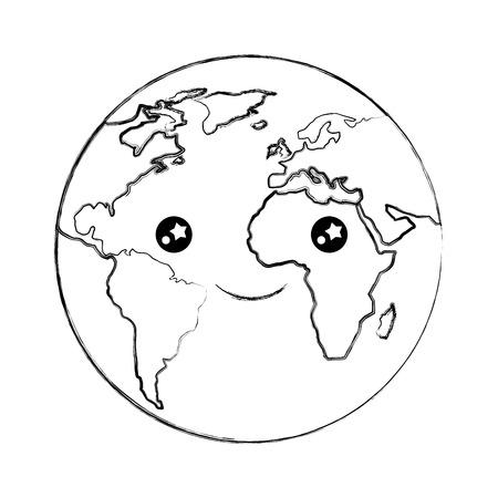 cartoon world globe   happy vector illustration