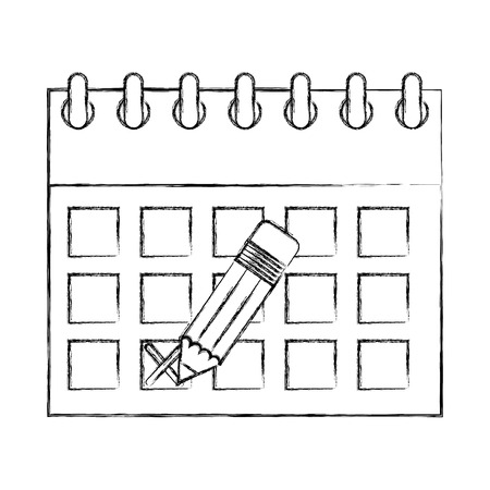 calendar reminder with pencil event vector illustration Archivio Fotografico - 100995988