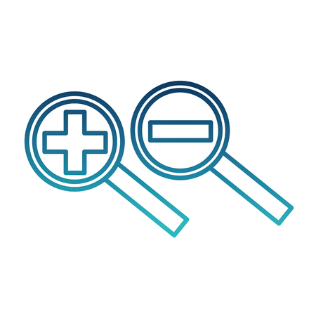 search magnifying glasses with plus and minus sign vector illustration design 向量圖像