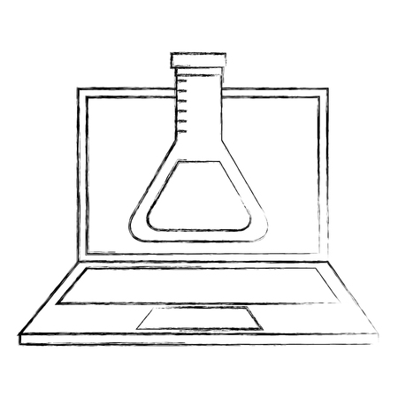 laptop laboratory test tube chemistry online vector illustration Banque d'images - 100994970