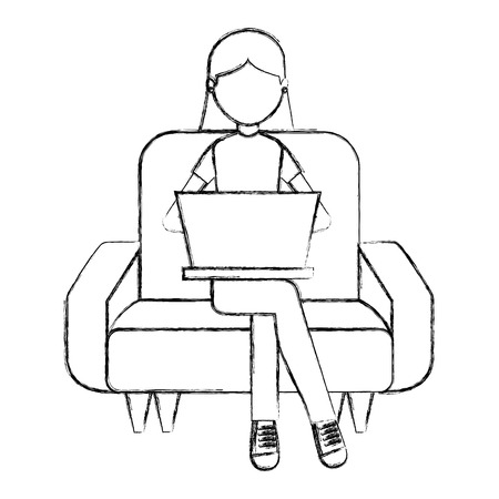 woman sitting and studying on the sofa with laptop vector illustration