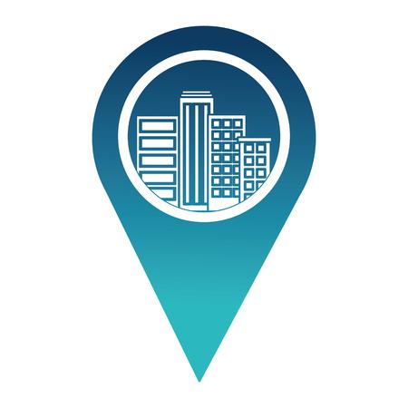 pin pointer location with building cityscape scene vector illustration design