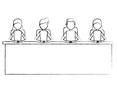 group man and woman sitting in desk team work vector illustration Ilustração