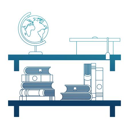 Shelf with books and hat graduation vector illustration design Illustration