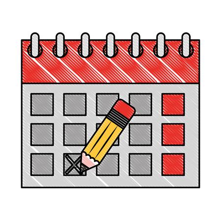 calendar reminder with pencil event vector illustration Archivio Fotografico - 100995293