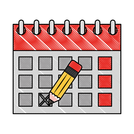 calendar reminder with pencil event vector illustration
