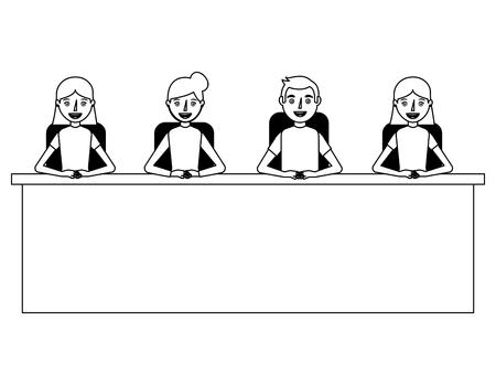 group man and woman sitting in desk team work vector illustration Banco de Imagens - 100995296