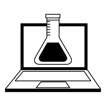 laptop laboratory test tube chemistry online vector illustration Banque d'images - 100995298