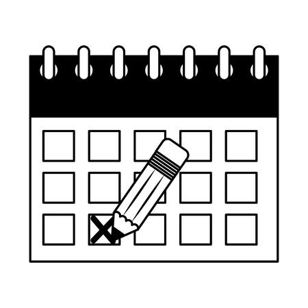 calendar reminder with pencil event vector illustration