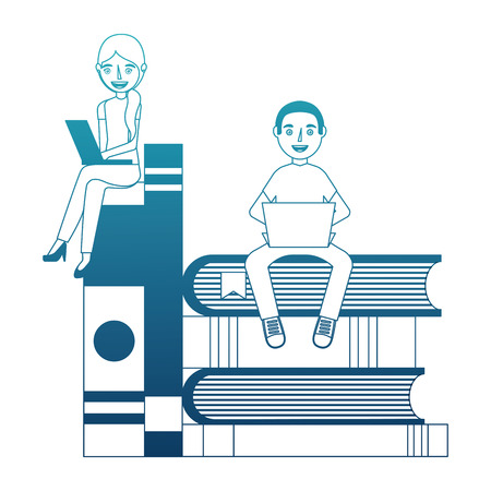 students with text books pile and laptop computer vector illustration design