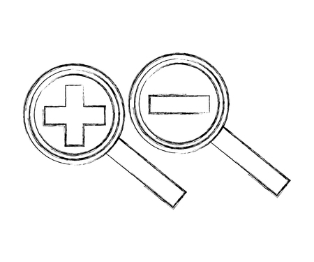search magnifying glasses with plus and minus sign vector illustration design Ilustrace