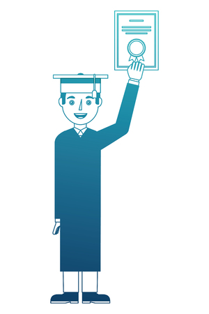 young man head with diploma vector illustration design