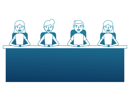 people with desk isolated icon vector illustration design