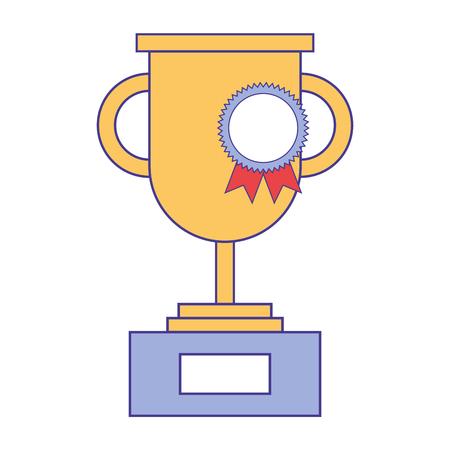 trophy rosette win medal triumph vector illustration