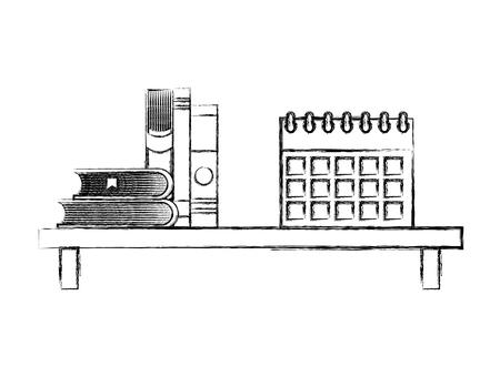 shelf with books and calendar reminder vector illustration design Stock Vector - 100996076